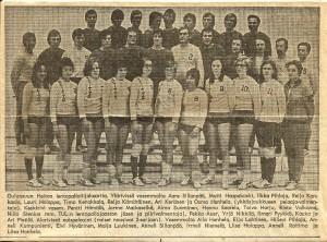 Seuran lentopalloilijoita 1970-1980 luvulta.