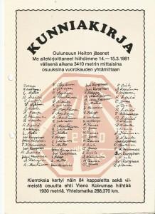 Vuorokauden hiihdon Kunniakirja vuodelta 1981 ja hiihtoon osallistuneet hiihtäjät.
