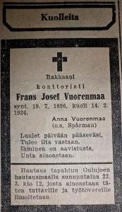 Frans Vuorenmaa siirtyi ajasta ikuisuuteen suhteellisen nuorena.